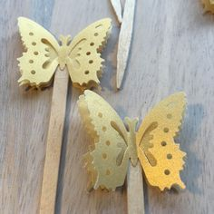 Gold Vellum Butterfly Cupcake Toppers by PicktheCake on Etsy