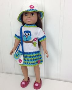"Picture of 18"" Doll Owl T-Shirt Dress, Hat & Purse Crochet Pattern"