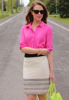 Gap blouse, J. Crew skirt, BCBG sandals,  Ann Taylor handbag