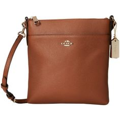 COACH Embossed Txt Leather North/South Swingpack (Light/Saddle) Cross... ($145) ❤ liked on Polyvore featuring bags, handbags, shoulder bags, coach crossbody, travel purse crossbody, coach handbags, leather man bags and brown leather shoulder bag