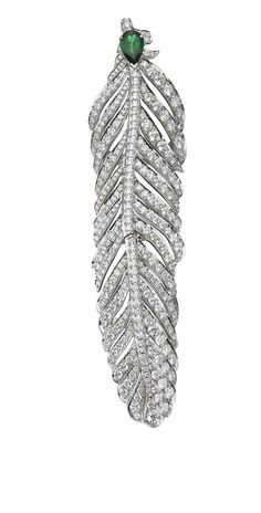 Crows Nest Jewels Dream Feather ring in white gold, with diamonds and a pear-shaped tsavorite.