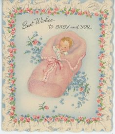 VINTAGE PINK ROSES BLUE FORGET ME NOT FLOWERS BABY GIRL CARD LITHO ART OLD PRINT