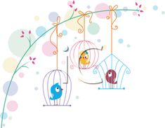 Illustration of Lovebirds in Different Cages