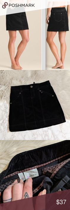 Delicious Athleta Tear Away B4 U Play Black Skirt Women's Clothing 4 Zipper Pockets Size 8
