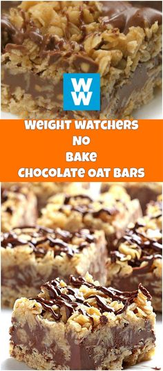 EASY NO-BAKE CHOCOLATE OAT BARS - weight watchers cooking I think it looks delicious, and it requires no baking which makes it the perfect snack for lazy people such as myself. It takes 15 minutes to make but you have to refrigerate for 4 hours as well. Weight Watcher Snacks, Dessert Weight Watchers, Weight Watchers Meals, Weight Watchers Brownies, Weight Watcher Cookies, Weight Watchers Muffins, Ww Desserts, Healthy Desserts, Dessert Recipes