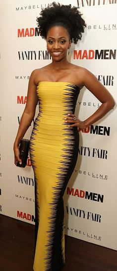 natural hair - Teyonah Parris at the Emmys Vanity Fair after party wearing a gorgeous Hervé Léger dress
