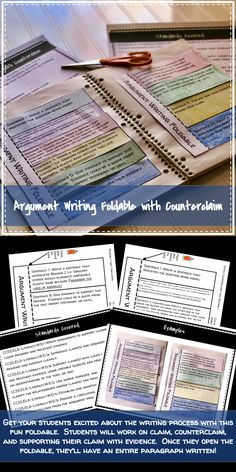 Argument Writing Foldable with Counterclaim, Evidence and Explanation