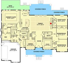 Handsome and Spacious Craftsman House Plan - 46309LA floor plan - Main Level