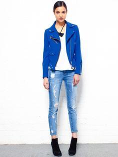 Cobalt Blue Biker Jacket by Glassworks - GSW10079