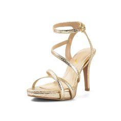 Gonzalez Gold Gold Metallic Strappy Heels Gold by ChristyNgShoes