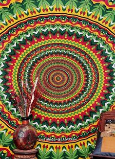 Psychedelic Pot Leaf Wall Tapestry Psy Mandala Indian Mandala Tapestry Beach Art #Traditional