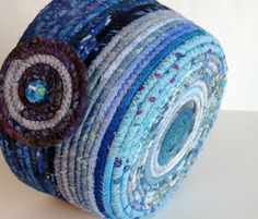 Bright Blue Basket Hand Coiled Rope Clothesline by SallyManke, $40.00