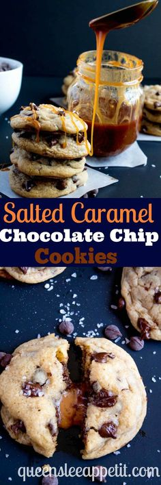These Salted Caramel Chocolate Chip Cookies are perfectly soft and chewy and are stuffed with gooey caramel and garnished with sea salt! Classic Chocolate Chip Cookie Salted Caramel = a match made in cookie heaven!