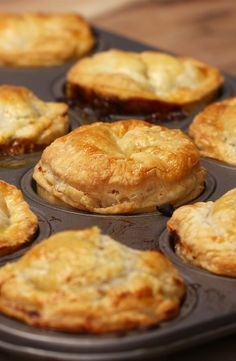 Mini Steak And Ale Pies Replace steak with mushroom and beef stock with vegetable stock for vegetarian recipe.