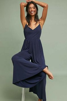 3292e901977a New Anthropologie Alara Strapless Jumpsuit by ASTR $148 Navy SMALL | eBay