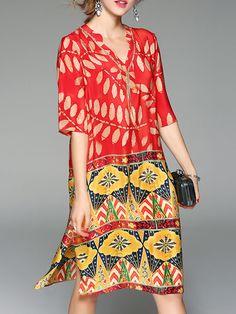 Shop Printed Dresses - Women Plus Size Red V Neck Printed Slit Midi Dresses online. Discover unique designers fashion at Modmiss.com.