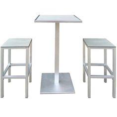 Ensemble de bar pour 2 personnes comprenant une table haute et deux tabourets de bar.  <br>Structure en aluminium et plateau en composite   L59 x 59 x H113cm  230€ gifi