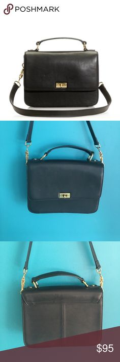 J.Crew Black Leather Edie Purse Beautiful bag with tags still on, though it's been used several times. Minor wear to leather here and there but in very good condition! J. Crew Bags Shoulder Bags