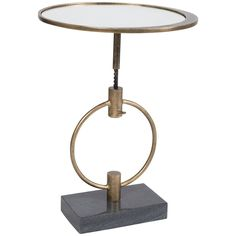 Details: - Collection: Barry Goralnick - Finish: French Brass Metal with Black Marble Base - Plain Mirror Top - Materials: Metal, Stone, Mirror Measurements: - Dimensions: w x d x h End Table Sets, End Tables With Storage, Side Tables, Small Accent Tables, Drink Table, Eclectic Design, Black Marble, Brass Metal, Martini