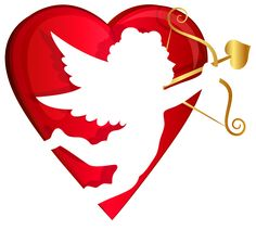 Red Heart and Cupid Transparent PNG Clip Art Image