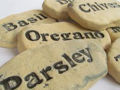 Herb Garden markers made to order GARDEN STONES  - Set of 5 - Custom plant names - Plant markers for herb or flower seeds. $30.00, via Etsy.