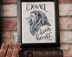 Courage Dear Heart Dictionary Page Print - C. S. Lewis Narnia Aslan Quote - Voyage of the Dawn Treader - Vintage Wall Art - Lion