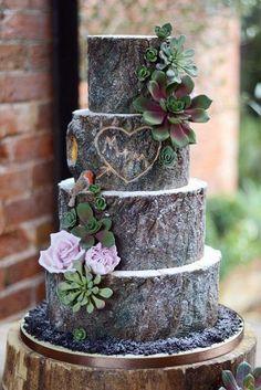 Country Wedding Cakes, Themed Wedding Cakes, Wedding Cake Rustic, Woodland Wedding, Themed Cakes, Wedding Themes, Wedding Decorations, Wedding Ideas, Rustic Cake
