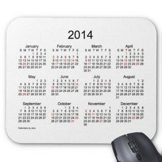2014 Calendar with Holidays Mousepads  Created By Calendars_by_Janz