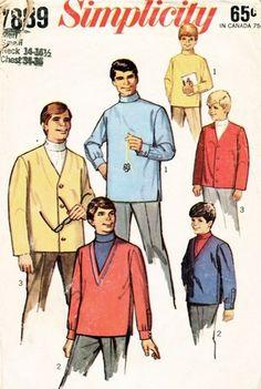 Simplicity Pattern 7889 Vintage 60's Men's Hipster Turtleneck Shirt + Cardigan Jacket!
