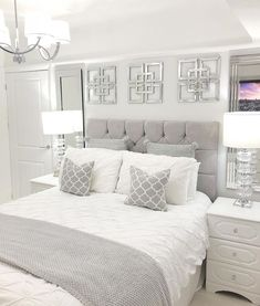 Great Free classy bedroom ideas Thoughts Because it's often wonderful to get started the latest 12 months with straightforward bedroom refreshes all th. Grey Bedroom Design, White Bedroom Decor, Home Decor Bedroom, Modern Bedroom, Bedroom Interiors, Master Bedroom, White Comforter Bedroom, Grey Bedrooms, Grey Home Decor