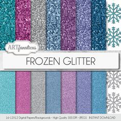 Frozen glitter digital papers Frozen Glitter by Artfanaticus  My backgrounds, textures, digital paper and clip art can be used for just about any project. Add some additional artistic style to your photo albums, photography projects, photographs, scrapbooking, weddings, invitations, greeting cards, gift wrap, labels, stickers, tags, signs, business cards, websites, blogs, party decor, jewelry & more.  For more digital papers, please visit Artfanaticus at:  http://artfanaticus.etsy.com