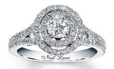 Neil Lane 3 Stone Halo Engagement Ring | Neil Lane Bridal for Kay Jewelers