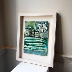 An impressive framed ceramic and glass piece of art work. Ceramic Artists, Contemporary Jewellery, Sculpture Art, Art Work, Glass Art, Reflection, Art Pieces, Fine Jewelry, How To Apply