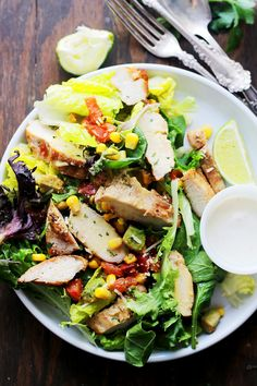 Grilled Chipotle Chicken Salad: oven grilled chicken seasoned with chipotle powder and tossed with all your favorite southwestern fixings.