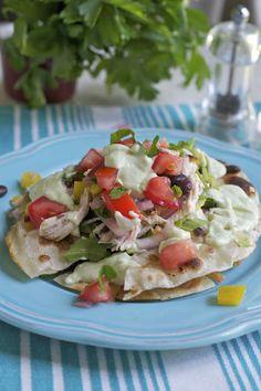more than burnt toast: Chicken Tostada Salad with Yogurt-Avocado Dressing and Pico de Gallo