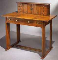 An Arts and Crafts furniture standout was a rare oak desk for Gustav Stickley, circa by Harvey Ellis sold for USD A similar inlaid library table of the same design can be found at the Los Angeles Museum of Art Arts And Crafts Furniture, Fine Furniture, Vintage Furniture, Wood Furniture, Furniture Design, Mission Style Furniture, Craftsman Style, Craftsman Houses, American Craftsman