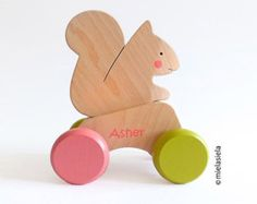 Wooden pull toy Rolling toy Animal pull toy Bear by mielasiela