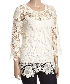 Simply Irresistible Ivroy Sheer Crochet Top - Plus by Simply Irresistible #zulily #zulilyfinds