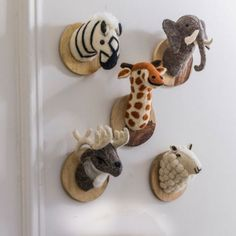 Felt Animal Heads on Wooden Mount - Animal Lovers - Gifts For... - Gifts