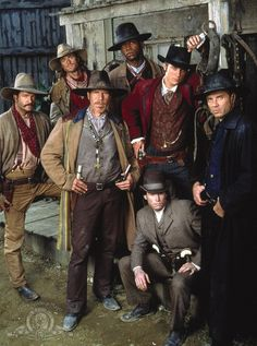 The Magnificent Seven.loved this tv show because it was about the only western on at the time. Starred Michael Biehn (in black). Old Western Movies, Western Film, Famous Movies, Good Movies, Imdb Movies, Rick Worthy, Dale Midkiff, Eric Close, Laurie Holden
