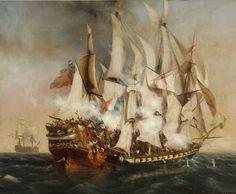 """""""La 'Confiance' de Robert Surcouf capturant le 'Kent"""", par Ambroise Louis Garneray. La Confiance est un petit trois-mâts armé de 18 canons, du style frégate légère, lancé à Bordeaux en 1799, célèbre pour avoir été commandé par le corsaire Robert Surcouf. Celui-ci la mène dans une campagne de plusieurs mois dans l'océan Indien qui lui permettra notamment de capturer le 'Kent', un Indiaman de 1 200 tonneaux portant 40 canons, et de nombreux soldats, lors d'un combat resté célèbre par sa…"""