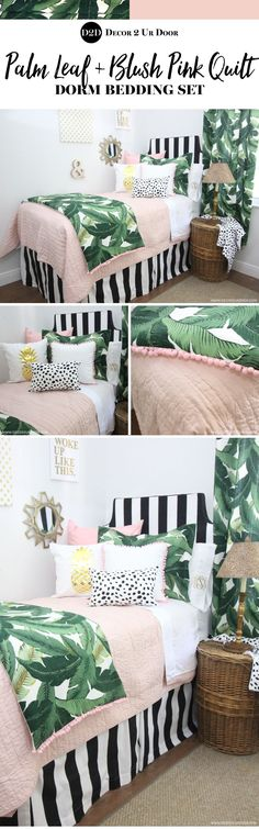 Perfectly pretty in PALM Beach. This gotta-have-it palm tree leaf fabric is simply spectacular. Stripes, pastel pinks, and Dalmatian prints…this bold yet beautiful set would look beautiful in your teen girl bedroom. Teen Bedding Sets, Teen Girl Bedding, Dorm Room Bedding, Teen Girl Bedrooms, Beach Bedding, Palm Tree Bedding, Dorm Rooms, Bedroom Colors, Home Decor Bedroom