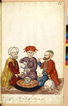 """Les Turcs mangent ainsi ensemble  Description :  """"Recueil. Moeurs et costumes des Orientaux."""""""