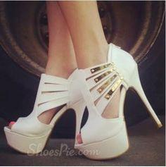 Elegant PU Cut-Outs Platform Sandals