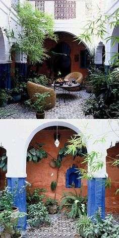 A riad in Chefchaouen (Morocco) by the style files. I love the interior garden.