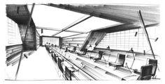 """KEN ADAM   Set design for S.P.E.C.T.R.E. headquarters. """"Thunderball"""" 1965"""