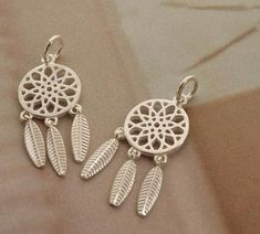 2 pcs sterling silver dreamcatcher charm pendant by Wangqing123