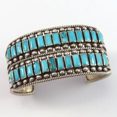 """Vintage (1960s) Cuff Bracelet set with Two Rows of Natural Turquoise and Hand Stamped Designs on the Band. 1.25"""" Cuff Width 5.5"""" Inside Measurement, plus 1.375"""" opening (6.875"""" Total Circumference - M"""