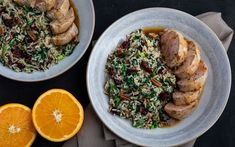 Pork Tenderloin with Orange-Ginger Sauce with a Spinach and Cranberry Wild Rice Ginger Sauce, Jus D'orange, White Wine Vinegar, Wild Rice, Filets, Oven Roast, Fall Recipes, Spinach, Tasty
