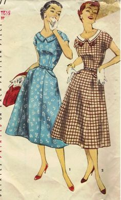 Dress with Full Skirt Vintage Sewing Pattern  by NanasSewingBasket